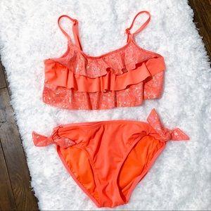 Justice Swim! Girl's 2 Piece Swimsuit Neon Pink